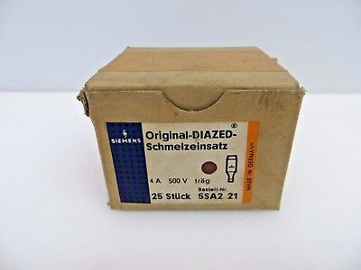 SIEMENS 5SA2 21 Schmelzeinsatz Original-Diazed Fuse 4A 500V Box of 25 Bottles