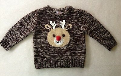 JOE FRESH Christmas Sweater Brown Rudolph Baby Boys Size 6 9 12 Months EXTRA EUC
