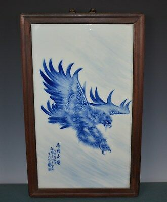 Magnificent Chinese Blue And White Porcelain Plaque Signed Master Wang Bu Hn8862