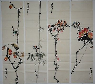 Fine Set Of 4 Large Chinese Paintings Artist Signed Rare Nr8189