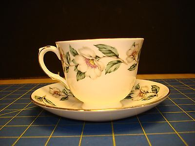 CHRISTMAS ROSES CROWN STAFFORDSHIRE , Bone China, Plain Edge,  Cup and Saucer