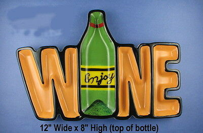 Nib Ceramic Wine Bottle Yellow Green Letters Hor D'oeuvre Snack Party Tray Dish
