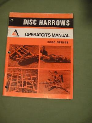 Vintage Allis Chalmers Tractor Manual Disc Harrows Operator's Manual 3000 Series