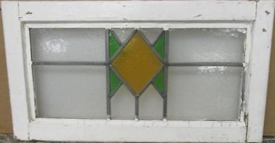 "MID SIZED OLD ENGLISH LEADED STAINED GLASS WINDOW Simple Geometric 24.25"" x 13"""