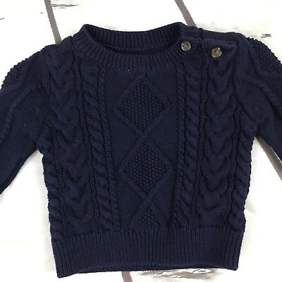 Baby Boy Gap Cable Knit Sweater Navy size 3-6 Months holiday infant  pullover EUC 0c9bf124f