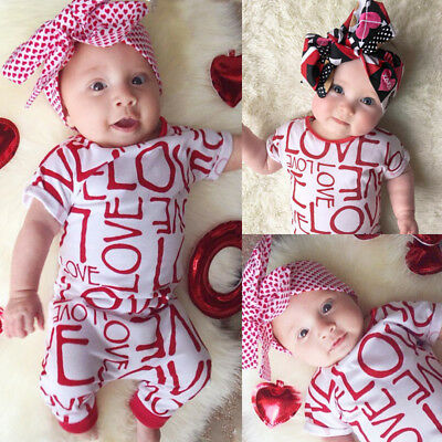 USA Infant Baby Girl LOVE Romper Jumpsuit Bodysuit Outfit Kids Clothes Christmas