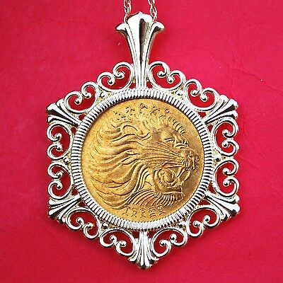 1977 Ethiopia 5 Cents Lion Head BU UNC Wildlife Coin Gold Plated Necklace NEW