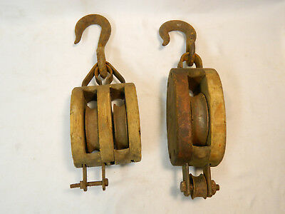 Two Small Antique Wooden Nautical Double / Single Barn Pulley Block And Tackle!