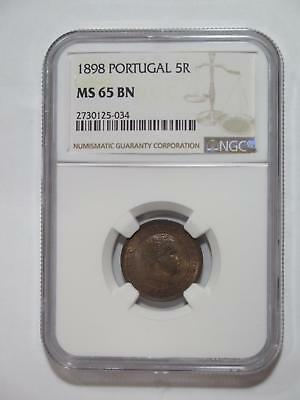 Portugal 1898 5 Reis Ngc Ms65 Bn Graded Toned Old World Coin Collection Lot