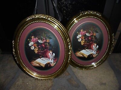 Home Interiors Pair Oval Flowers Cherubs Pictures Gorgeous Excel.