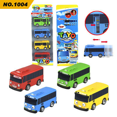 New 4Pcs/set The Little Bus Tayo Pull-back vehicle Cars For Boys' Toy Gift
