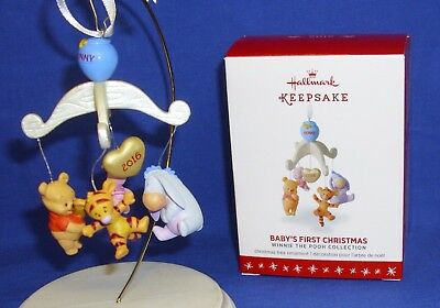 Hallmark Ornament Baby's First Christmas 2016 Pooh Tigger Eeyore Piglet Dangle