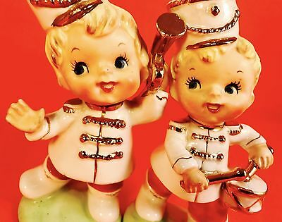 SO CUTE! Fun Marching Band Boy Figurines Vintage Napco Lefton 1950s Kitsch Retro