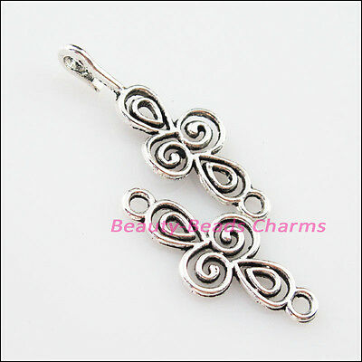 4Sets Tibetan Silver Clouds Cross Bracelet Toggle Clasps Connectors 12x56mm