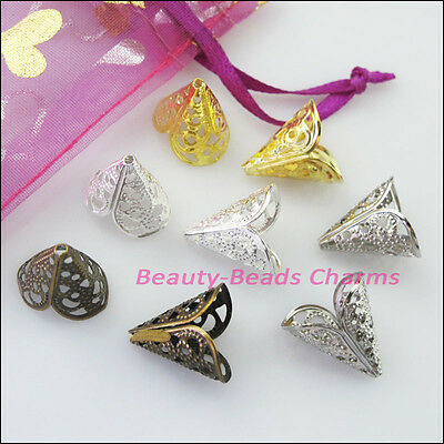 20Pcs Leaf Flower Cone End Bead Caps Connectors 16mm Gold Silver Bronze Plated