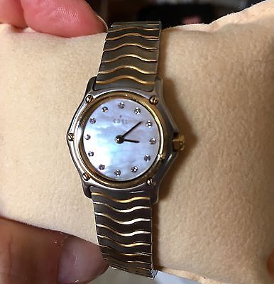 SALE!  EBEL Sport Classic Ladies 18K bezel MOP Diamond Dial Stainless Orig Owner