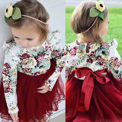 Toddler Kid Baby Girl Floral Long Sleeve Tulle Tutu Skirts Dress Outfit USA gl