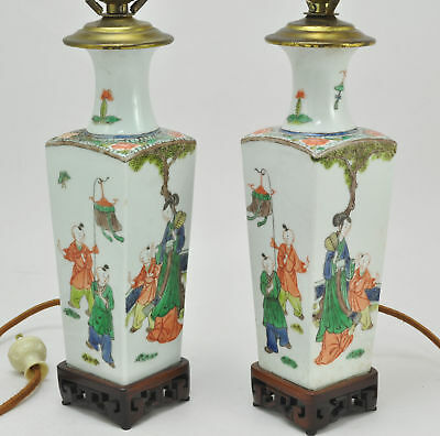 Pair of 19th Century Antique Chinese Porcelain Square Vases Table Lamps
