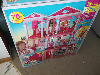 Barbie Dream House dollhouse 3 floors 7rooms 70accessories elevator 4' x 3' New