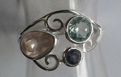 538 Rose Quartz/Blue Topaz/Iolite gem 925 sterling silver ring sz M/O rrp$89