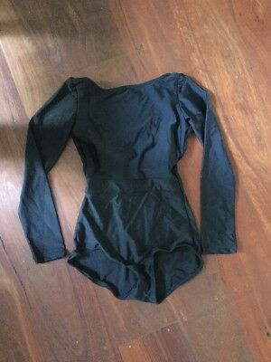 Black Balletto Body 3/4 Sleeve Leotard Adult XS