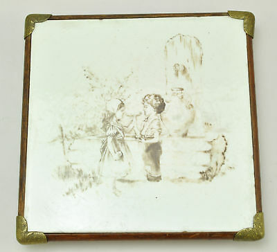 Antique Wedgwood Hand Painted Tile Trivet 19th Century