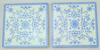 Two Antique Blue Wedgwood Transfer Printed Tiles late 19th Century