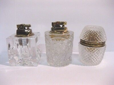 Lot of 3 Vintage Table or Desktop Glass Cigarette Cigar Lighters Estate Find