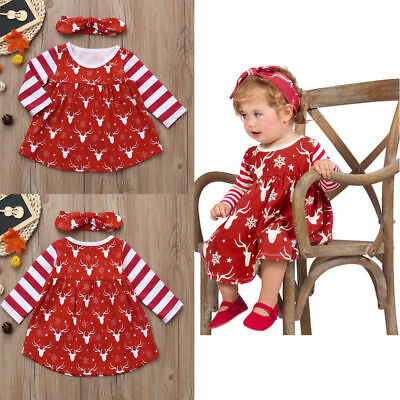 7bdbe4eb9528 Newborn Infant Baby Girls Deer Striped Princess Dress Hairwear Christmas  Set Hot