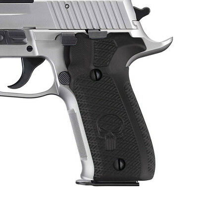 Sigsauer P226 Black Grip With Silver Punisher.