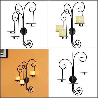 3 Candle Sturdy Metal Iron Wall Sconce For Modern Vintage Home Decor Matte Black