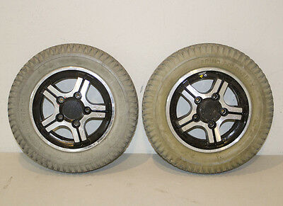 "2 Primo Powertrax Foam Filled Tires 3.00-8 14""X3"" Jazzy Wheelchair Wheels"