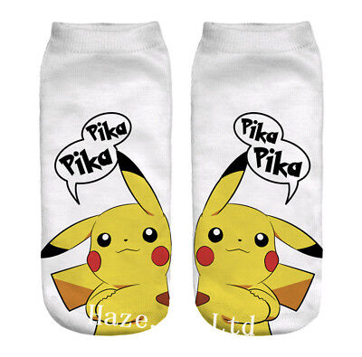 3D Pikachu Ladies Girls Womens Pokemon Socks Ankle Trainer Liners Good Gift Hot