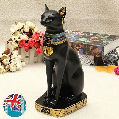 Vintage Egyptian Black Cat Bastet God Figurine Pharaoh Statue Home Garden Decor
