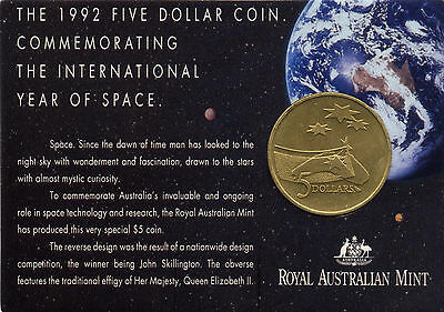 """1992 $5 Uncirculated Coin: """"International Year of Space."""""""