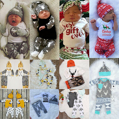 Newborn Kids Baby Boy Girl Tops Romper Pants Outfit Set Cotton Clothes AU Seller