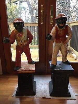 "TWO Fabulous Antique Large 38"" Cast Iron Lawn Jockey / Hitching Post ""Jocko"""