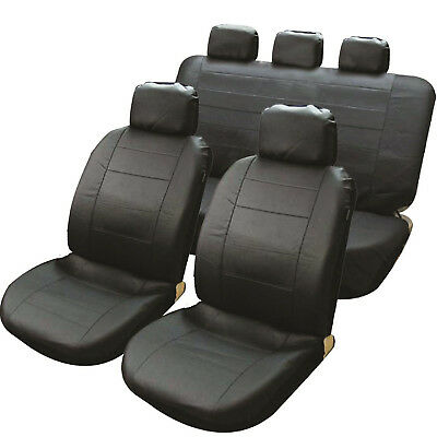 Black Leather Look Car Taxi Air Bag Friendly Seat Covers Set Split Rear Seats