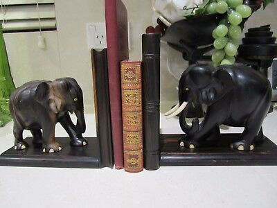 Timber Carved Elephants Book ends