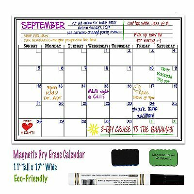17 x 11 Magnetic Dry Erase Refrigerator Calendar Board Monthly Organizer Planner