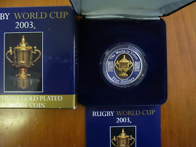 """2003 $5 Silver Proof Coin: """"Rugby World Cup."""""""
