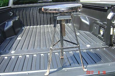 Antique Swivel Top Ice Cream Soda Shop Stool Wrought Iron legs Wood Top NICE !!