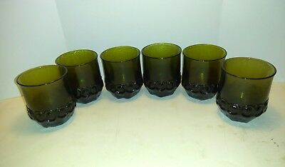 6 x Franciscan Madeira Olive Green Double Old Fashioned Glasses Tumblers