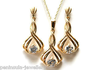 9ct Gold Fancy CZ Pendant and Drop Earring Set Made in UK Gift Boxed