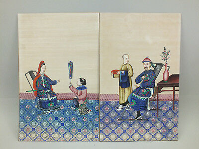 5) PAIR OF CHINESE WATER COLOUR PAINTINGS ON RICE/PITH PAPER OF FIGURES  19thC