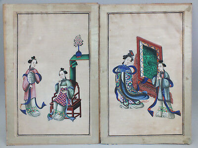 6) PAIR OF CHINESE WATER COLOUR PAINTINGS ON RICE/PITH PAPER OF WOMEN  19thC