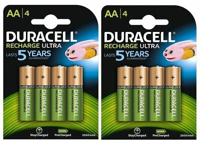 8 x Duracell AA 2500 mAh Duralock PRE / STAY CHARGED Rechargeable Batteries NiMH