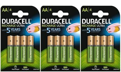 12 x Duracell AA 2500 mAh Duralock PRE / STAY CHARGED Rechargeable Batteries