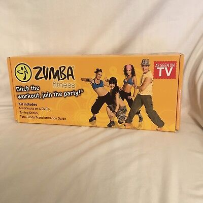 Zumba Fitness Exercise Kit 6 Workouts on 4 Discs and 2 Toning Sticks, Seen on TV