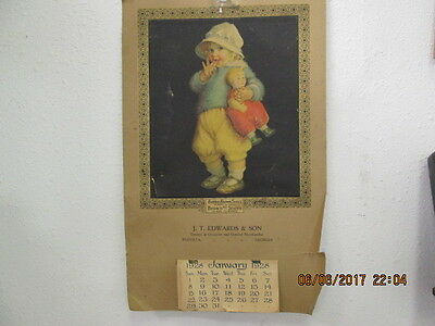 Vintage 1928 Calendar Buster Brown Shoes for J.T. Edwards & Son